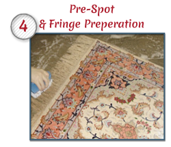 Any potentially difficult spots will be pre-treated with special solutions to increase chances of removal. If your rug has a fringe, we will clean it using several procedures. It too be pre-treated for maximum soil removal.