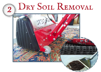 "Dry soil removal is the most important step in cleaning any textile. Woven rugs, especially hand knotted rugs are designed to hide dry soil. A few years ago, the Eureka company did a study and found that a 9 x 12 could hide 87 pounds of dirt! We use a variety of techniques to ""dust"" the rugs from the front and back. A machine called a pile lifter, special vacuum attachments, and many additional methods are implemented in this process."