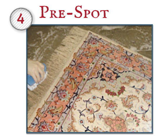 Any potentially difficult spots will be pre-treated with special solutions to increase chances of removal. If your rug has a fringe, we will clean it using several procedures. It will also be pre-treated for maximum soil removal.