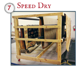 After the shampoo wash and rinse, the rug is dried flat or hung to dry in a controlled environment. Proper drying is essential to avoid unnatural shrinkage and dye migration.