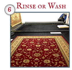 Most rugs are cleaned with an Oriental Rug Shampoo that is especially designed to get maximum cleaning while protecting sensitive natural fibers. Depending on the type of rug, it will be rinsed with extraction equipment on both sides or washed in a wash pit designed especially for Oriental Rugs.