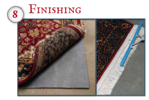 Once the rug is dry, it is combed and finished with soft groomers made for specialty rugs.