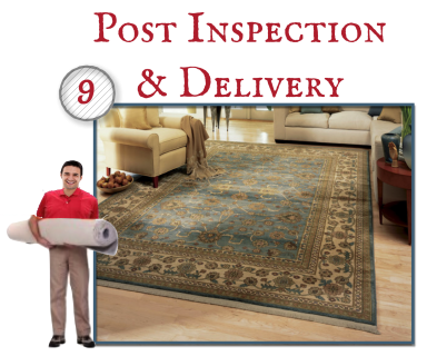 Our cleaning specialist will give the rug a final inspection and release it for delivery. Your rug will be wrapped to protect it from dust and environmental soils until it is picked up or delivered. Upon delivery, we will lay the rug for you.